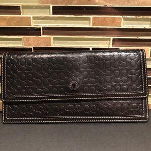 Coach Signature Black Leather Clutch